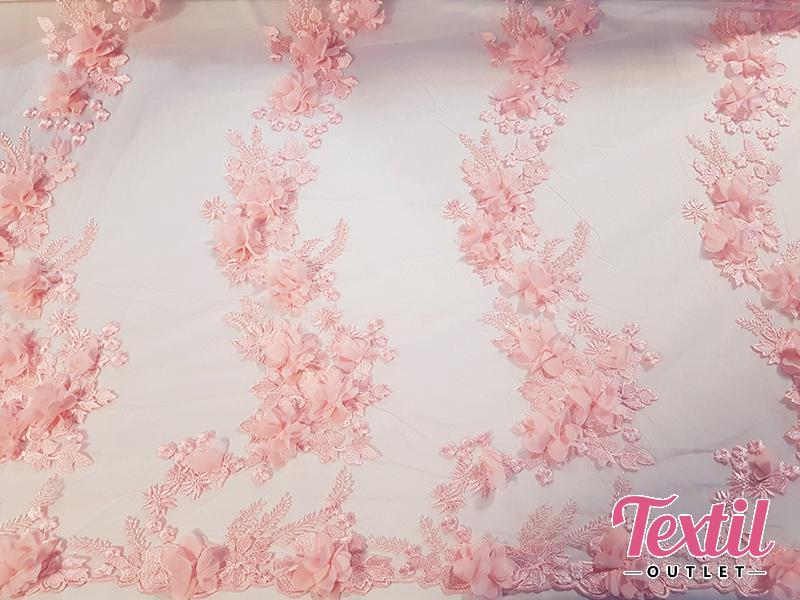 Dantela 3D roz prafuit